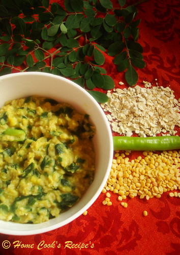Oats with Dal and Greens