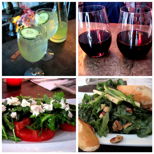 sangria wine and salads