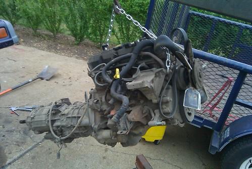 Removed the 2.5L 4cyl · Cummins 4BT Diesel Jeep Wrangler TJ