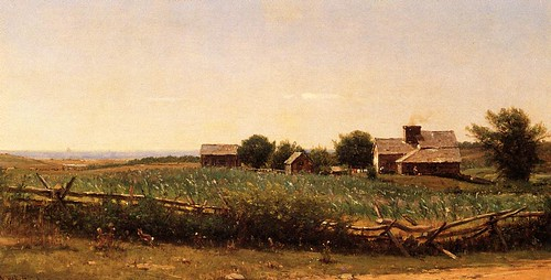 Farm by the Shore - c 1881-89 by Thomas Worthington Whittredge 1820-1910
