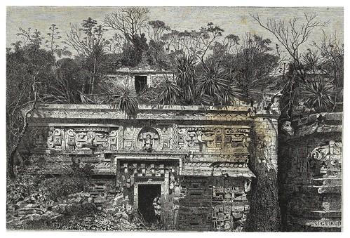 025-Fachada del palacio de las monjas en Chichen-Iza-Les Anciennes Villes du nouveau monde-1885- Désiré Charnay