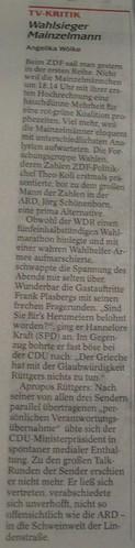 WAZ-Berichterstattung zum ZDF bei der Landtagswahl NRW 2010 (10.05.2010)