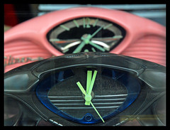 Dashboard clocks (Grumpy Old Tina 1960) Tags: pink black sussex brighton time clocks photoblitz brightondayout