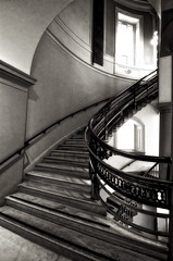 Third Floor Staircase (Baab1) Tags: blackandwhite bw monochrome sepia stairs washingtondc nikon shadows curves wroughtiron steps arches museums nationalportraitgallery windowlight d300 nationscapital marblestairs tokina1116 ultrawideaangle