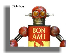 BON AMI (Tinkerbots) Tags: old red sculpture art make monster metal vintage toy tin robot junk image antique assemblage unique character creative machine rusty retro steam clean odd scifi laser imagine rocket fi custom creature scrap foundobject comicon sci raygun steampunk bonami scrapart danjones junkart tinkerbots