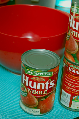 Canned Whole tomatoes, crushed with hands