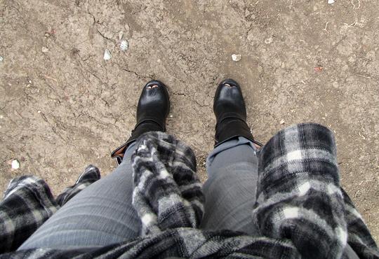 michael kors boots+gray jeans