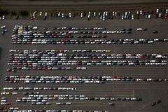 parking lot (dougschneiderphoto) Tags: above usa cars car landscape flying newjersey spring aviation nj aerial blimp airship dirigible manville snoopyone