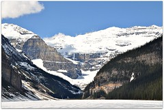 View of the Glacier (Stella Blu) Tags: stella lake snow canada mountains ice spring blu alberta lakelouise banffnationalpark nikkor18200 challengeyouwinner achallengeforyou thechallengefactory fotocompetition fotocompetitionbronze nikond5000 gamex2winner pregamewinner landscapenowater
