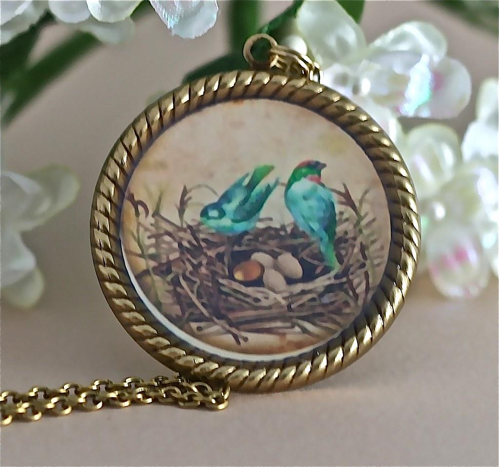Antiqued Gold Bluebirds Collage Pendant