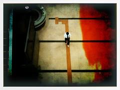 ? (daveweekes68) Tags: new orange man japan painting paint escalator montage tokushima iphone pictureshow informationsign newdirections takenwithaniphone paintingtexture iphoneography blendcam daveweekes manwalkingalongaline