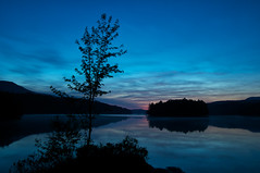 Sunset At The Cherry Pond (Jonathan Grenier) Tags: sunset canada reflection water evening nikon eau quebec lac sigma peaceful bluehour contrejour coucherdesoleil orford tang d300 sigma1020mm parcnationaldumontorford treeblue parcsqubec tangauxcerises