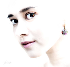 Jewels For A Princess (Tomasito.!) Tags: portrait people woman cute art love girl beautiful face fashion metal lady photoshop diamonds painting neck asian nose gold star bigeyes high interesting eyes mac nikon key asia princess artistic lace steel south philippines earring makeup lips east stare highkey lipstick filipina ruby mole jewels titanium emerald platinum chin eyebrows sapphire eyeliner topaz princeofpersia 18105 beautymark d90 strobist