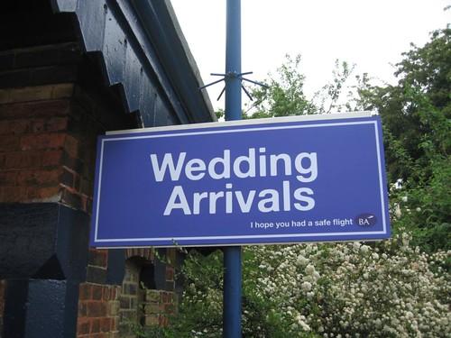 Sign at King's Sutton Station - Wedding Arrivals, BA Wedding Express