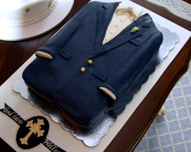 christening cake - baby boy - suit