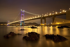 Tsing Ma Bridge At Night (Claire Chao) Tags: light sunset hongkong twilight suspension dusk nightview   suspensionbridge mawan tsingmabridge  parkisland  tungwanbeach canoneos5dmarkii