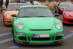 Porsche 997 GT3 RS MkI x2 - Rallye de Paris 2010 (Automartinez) Tags: orange paris canon de eos is italia 911 competition ferrari du course mans le porsche bugatti circuit rs alban rallye verte 2010 gt3 997 24h sarthe 500d joachin 458 evenement mk1 rassemblement automartinez