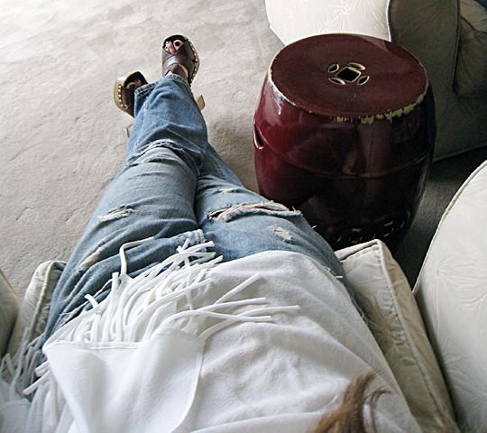 Leyendecker blouse+ripped Levis jeans+Miu Miu clog sandals+Louis Vuitton bag-6