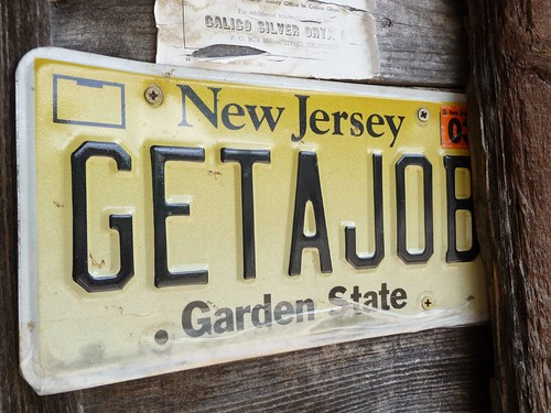 get a job license plate.