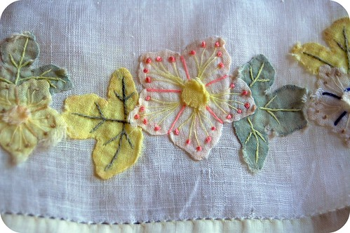 vintage applique handkerchief
