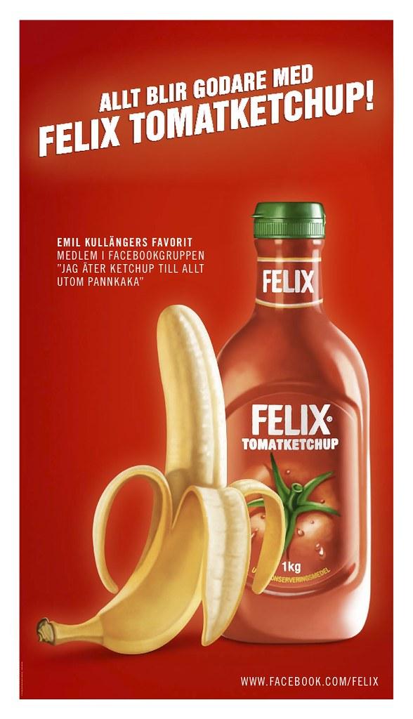Banan med Felix tomatketchup, annonsering utomhus