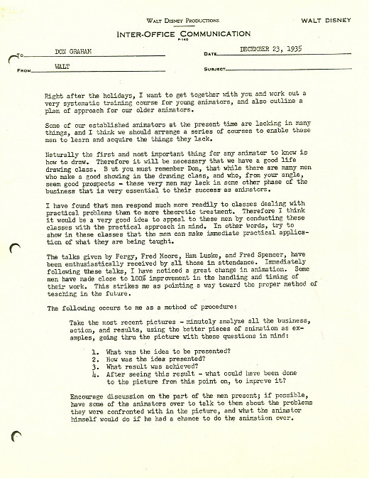 (Source: Michael Sporn Animation; Image: Walt Disney At Work, Via.)  Transcript. WALT DISNEY PRODUCTIONS INTER OFFICE COMMUNICATION  Inter Office Communication Letter
