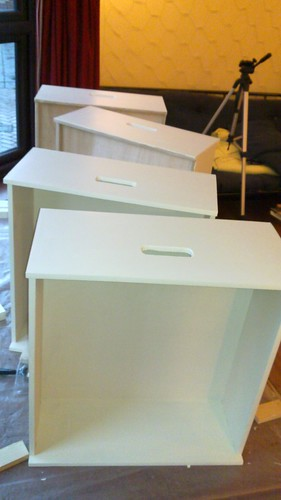 Drawers with second coat of paint