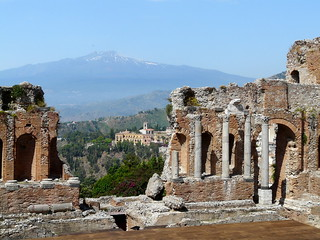 Ruins of the Greek theatre,Sicily,Italy.