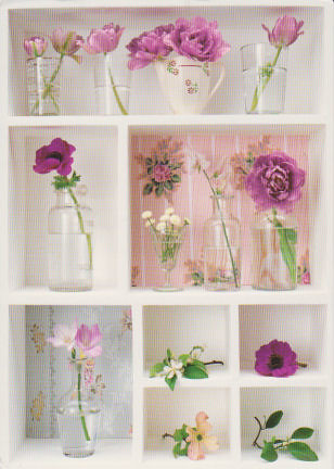 lavendar flowers on shelves