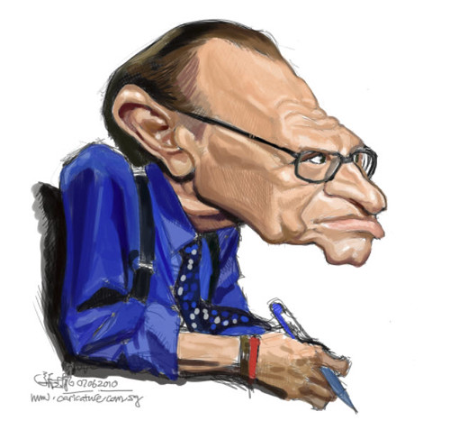 digital caricature of Larry King - 1