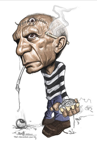 digital caricature of Pablo Picasso - 3 small