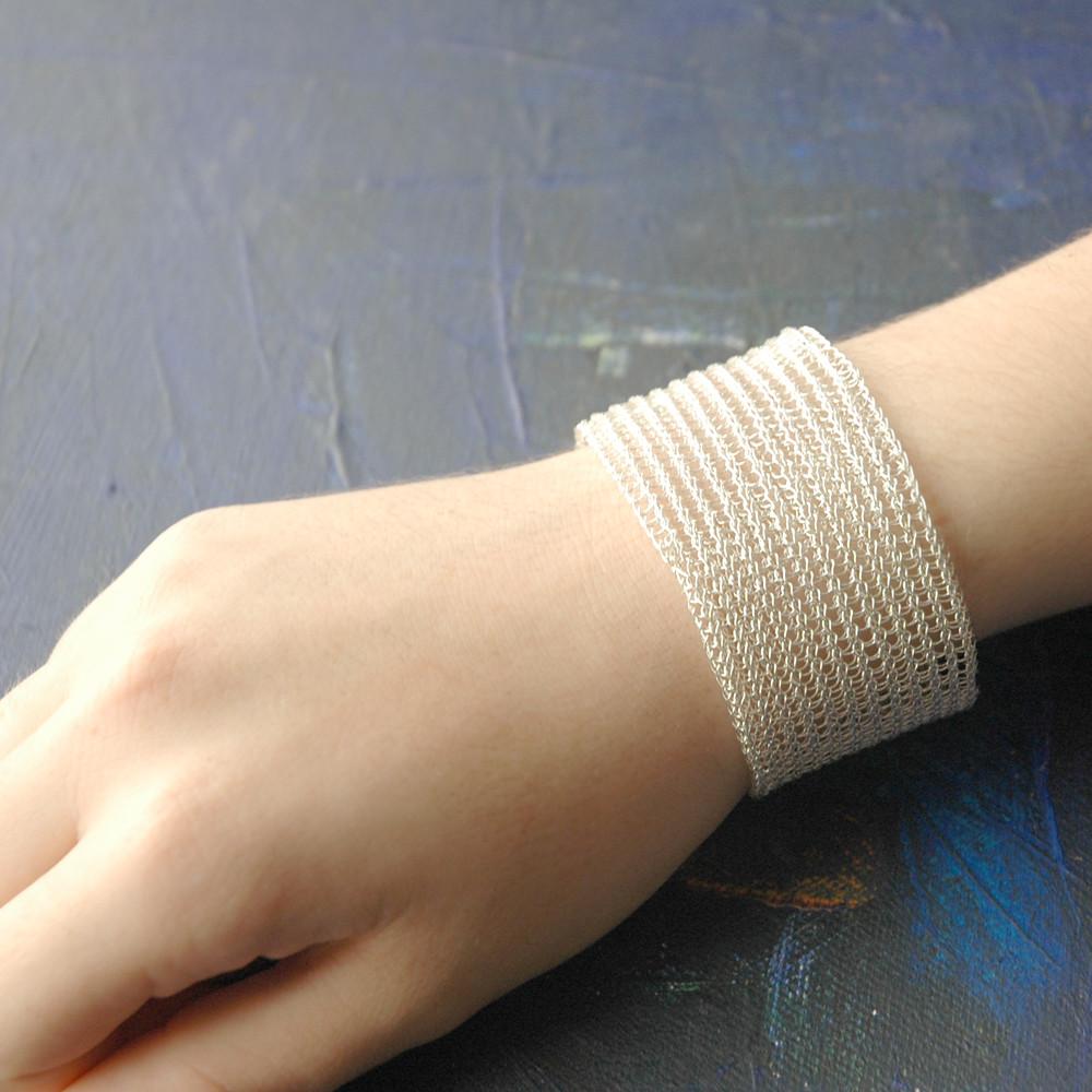 Silver cuff bracelet in crochet 1.9 inch wide