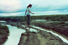 cold water (-Fearless-) Tags: portrait selfportrait water girl rain clouds self person pond flooding flood cloudy overcast raining puddles torrents