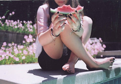 summer in this city. (amnda adam) Tags: summer film water pool girl canon rebel watermelon eat esog