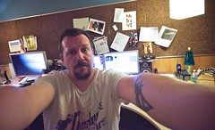 40+233 Ack! (bark) Tags: me tattoo work 3d nikon saturday wideangle blogged jupiter later messydesk yah stretchy latenights d90 disasterzone lotsofwork 365days andtired gorillaarms thisiswhyimfat ikeeptellingyouthis illpickupthatstufflater