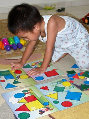 Julian with shape puzzle