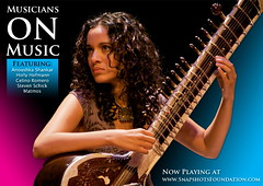 Musicians on Music: film poster (Snapshots Foundation) Tags: world guitar percussion jazz classical electronic sitar matmos anoushkashankar stevenschick hollyhofmann celinoromero snapshotsfoundation