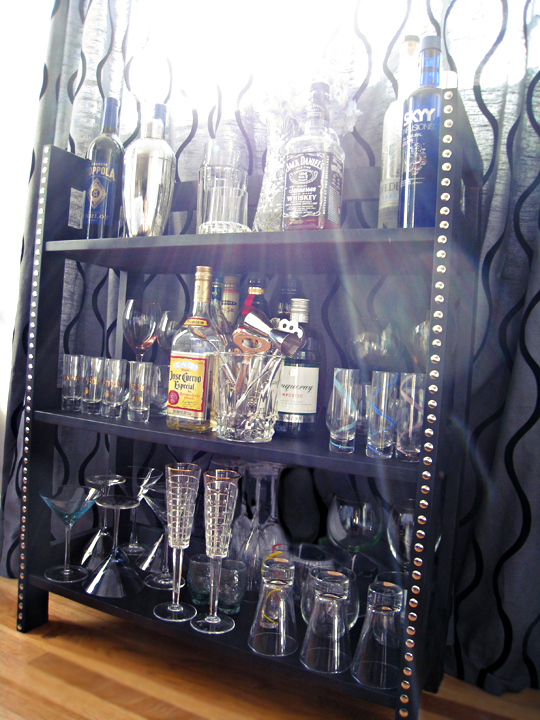 diy studded mini bar+home mini bar+booze display+diy bookshelves to bar