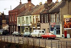 Shops by the Feeder, Bristol 1977 (beareye2010) Tags: bristol feeder 1970s feedercanal