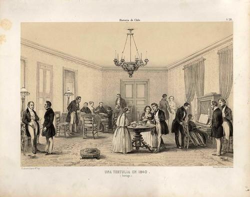 029-Una tertulia en Santiago 1840-Atlas de la historia física y política de Chile-1854-Claudio Gay