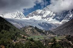 Lho village and Manaslu range (beudii) Tags: lho manaslu circuit village dort nepal himalaya landscape berge mountains