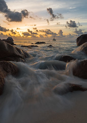 sweet seychelles (anthony.vairos) Tags: sunset sun hot praslin seychelles island indian ocean rock sea tropical cloud orange sigma art 24 mm f14 fullframe pleinformat nikon d750 dslr manfrotto polarisant hoya pose longue lightroom photoshop photo photography passion holiday beautiful stone landscape travel beach water