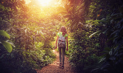 into the green (Chrisnaton) Tags: selegermoor jungle girl green nature path walking sunlight outdoor backpack hiking intothegreen