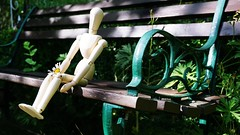 DSC02858-01 (suzyhazelwood) Tags: garden artist mannequin seat empty creativecommons sony a6000 summer cute little people