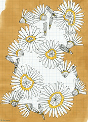 Golden (Anika Starmer  A is for Anika) Tags: flowers texture yellow pen ink golden sketch pattern drawing line marker blossoming draw ochre connect blooming overlap