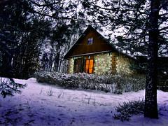 Winter house (raphic :)) Tags: las winter light house snow window nature pine forest evening dom poland polska zima nieg okno wiato przyroda sosna wieczr raphic abigfave wierzchoniw