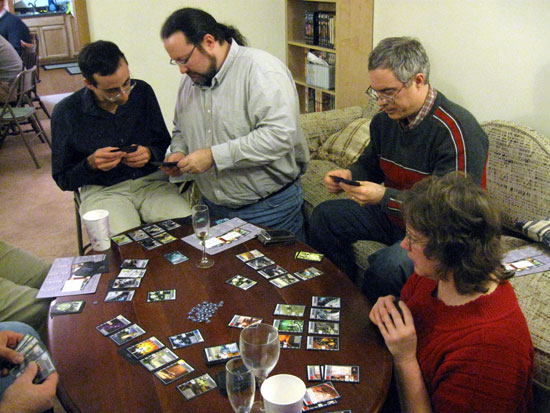 Playing Race for the Galaxy (Click to enlarge)