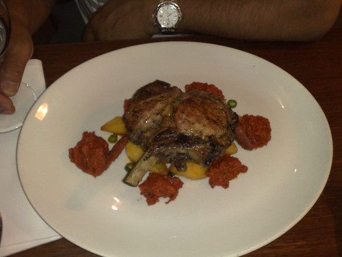 Grilled Kurobuta pork cutlet with roasted spiced chorizo and kiffler potatoes