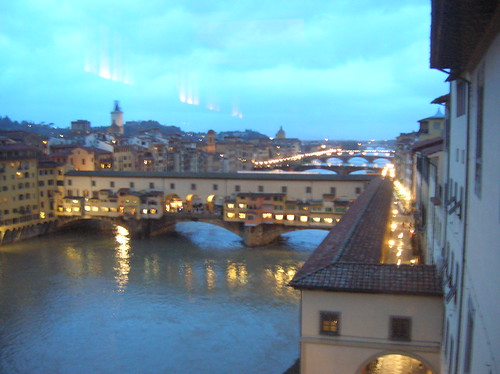 Florence - An evening view of Ponte Vecchio from Uffizi Museum