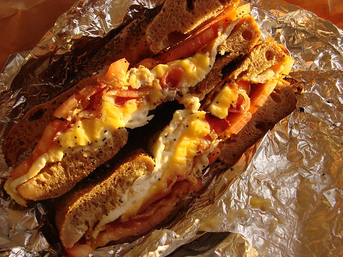 Bacon, egg white, cheese and tomato flagel sandwich from Terrace Bagels